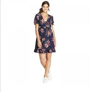 Xhiliration Floral Tie Front Mini Dress, Size XS